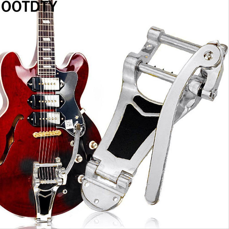 Flat Top Body Tremolo Unit Vibrato Bridge Jazz Guitar ETC Chrome Electric Guitar Vibrato Tremolo Bridge Tailpiece Big Rocking Rod Pulling String Board for Tele LP SG
