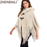 ZHENBAILI Solid Hooded Women Sweaters Spring Horn Button Cloak Sleeve Chunky Knit Coats Fashion Tassels Hem Poncho Cape Coats