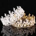 Prata banhado a ouro Rhinestone nupcial acessórios de cabelo casamento Tiara cristal da flor do Metal coroa folha mulheres Fro