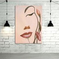 Bezramowe 100% Ręcznie Malowane Wysokiej Jakości Powiesić Zdjęcia Nowoczesne Wall Art abstrakcyjna Obraz Olejny Na Płótnie Kwiat Dziewczyna Na Wystrój Pokoju