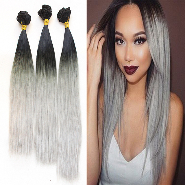 Cheap 3pcs Black Grey Synthetic Hair Extension Silk Straight