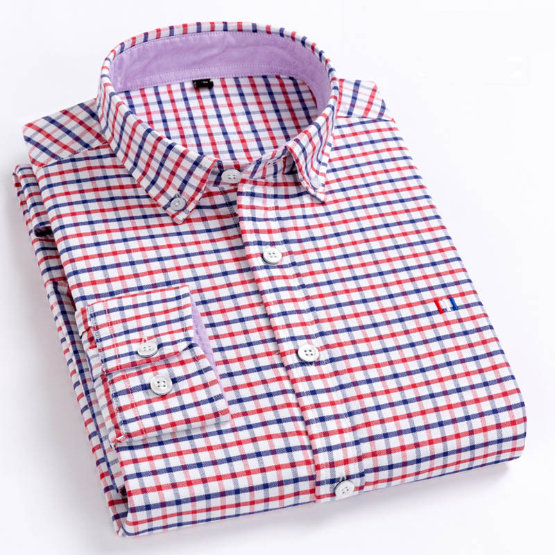 Aoliwen brand men Oxford Long Sleeve Shirt plaid stripe solid 100%cotton high quality casual oxford shirts spring autumn clothes