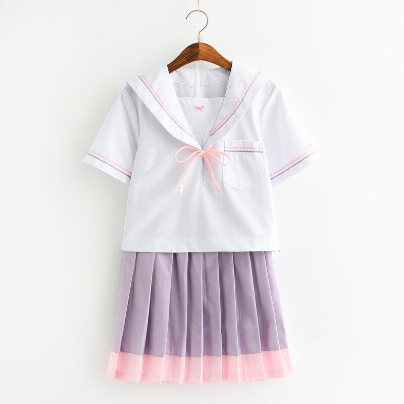 Femmes japonaises JK étudiant Cardigan école uniforme haut + violet pli jupe ensemble complet tenue uniforme nouveau S, M, L, XL, XXL