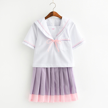 Japanese Women JK Student Cardigan School Uniform Top+Purple Fold Skirt  Set Full Outfit New S,M,L,XL,XXL