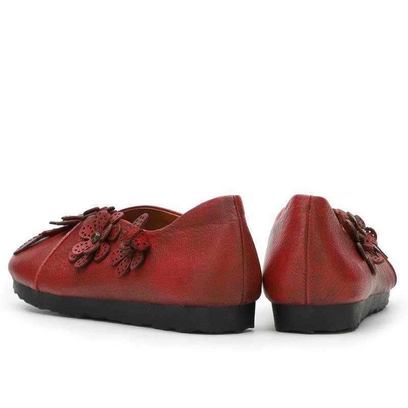 Véritable À Chaussures Plat Femelle Mocassins Taille Cuir Fleurs Appartements En Plus Solide La Casual Main Femmes Red Confortable wr0rq