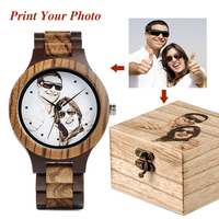 Relogio Masculino Custom Men Watch LOGO Print Your Own Photo Unique Wood Wristwatch Creative Gift in Wooden Box Drop Shipping