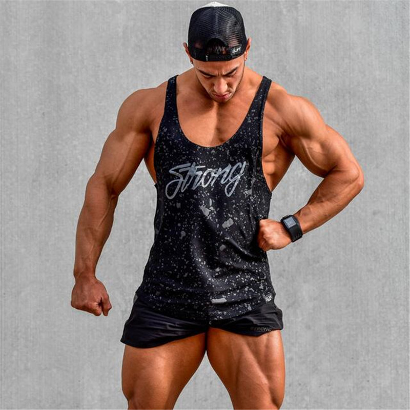 2019   Tank     Tops   Sleeveless Vest   TOP   Undershirt casual fitness Mens casual print Bodybuilding Red gray black