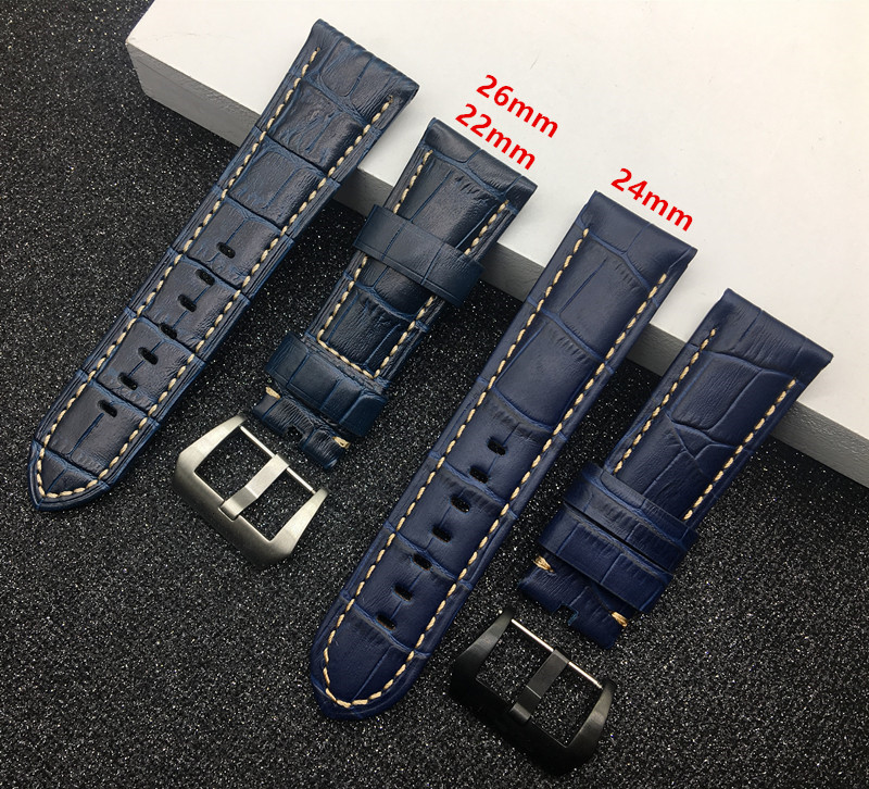 Genuine real dark Blue leather 22mm 24mm 26mm Watchband For PAM Panerai strap And Big Pilot Sport Wristband PAM buckle free tool | Watchbands