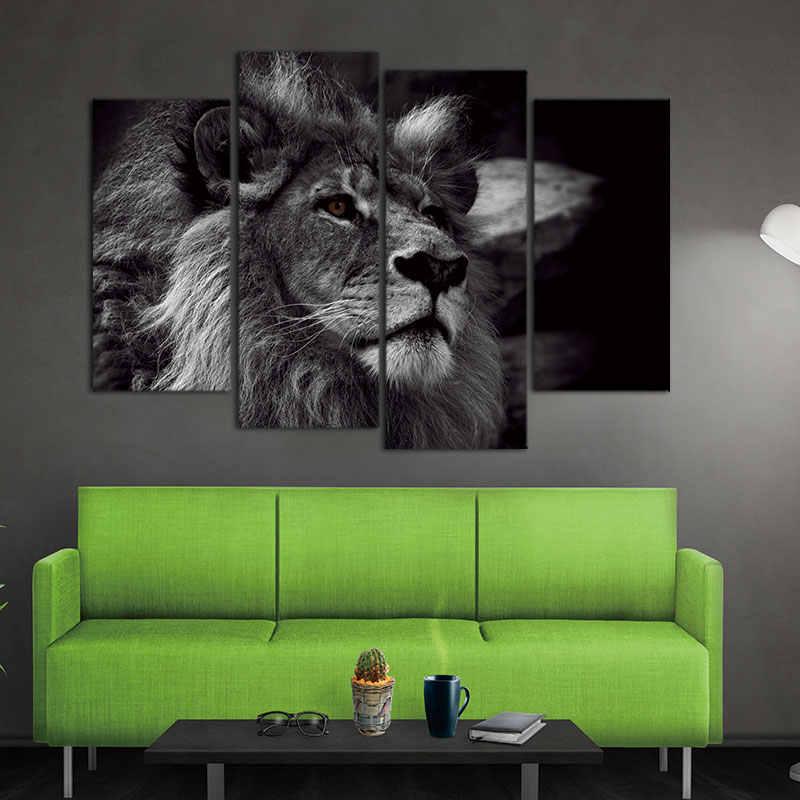 4 لوحات الحديثة صورة حيوان الأسد رئيس صورة الرسم على لوحات القماش الجدارية الأسود والأبيض جدار طباعة الصور على قماش