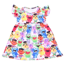 Summer kids apparel bright color cartoon printed dress for toddler O neck milk silk frocks flutter baby dresses