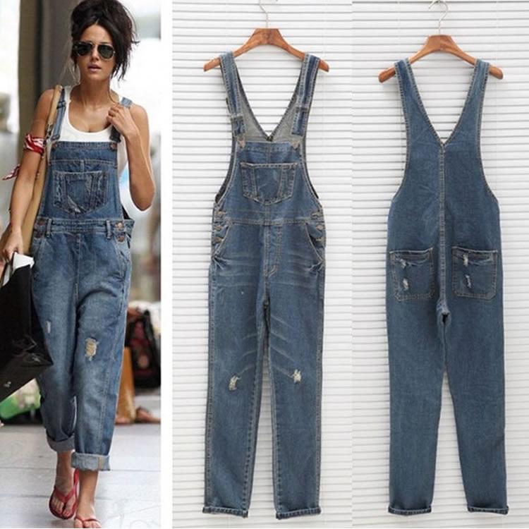 282000731810 Cotton Denim Women Suspender Trousers Loose Solid Deep Blue Plus Size Jumpsuits  2019 Autumn Winter Fashion