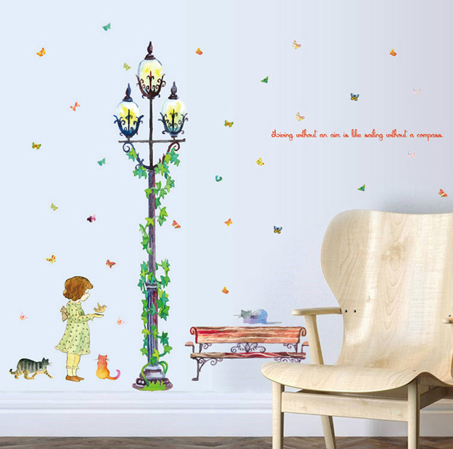 Streetlight Street View Large Wall Stickers Home Decor Living Room Diy Art Decals Removable Wallpaper