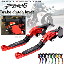 Logo Red&Titanium CNC Folding Extendable Motorcycle Brake Clutch Levers For Yamaha FZ6 FAZER 2004-2010 2005 2006 2007 2008 2009 for yamaha fz6 fazer s2 2004 2010 hot sale high quality short brake clutch levers motocycle black cnc aluminum levers blue color