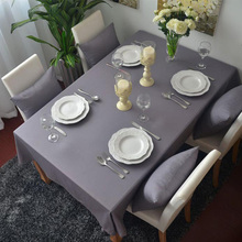 100% Cotton Gray Tablecloth Thick Cloth for Home Party Weddings Dustproof Table Cover High Quality