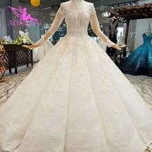 AIJINGYU Customชุดแต่งงาน2021 2020แขนยาวลูกไม้สีขาวมุสลิมมุสลิมเจียมเนื้อเจียมตัวDressing Gownชุดแต่งงาน