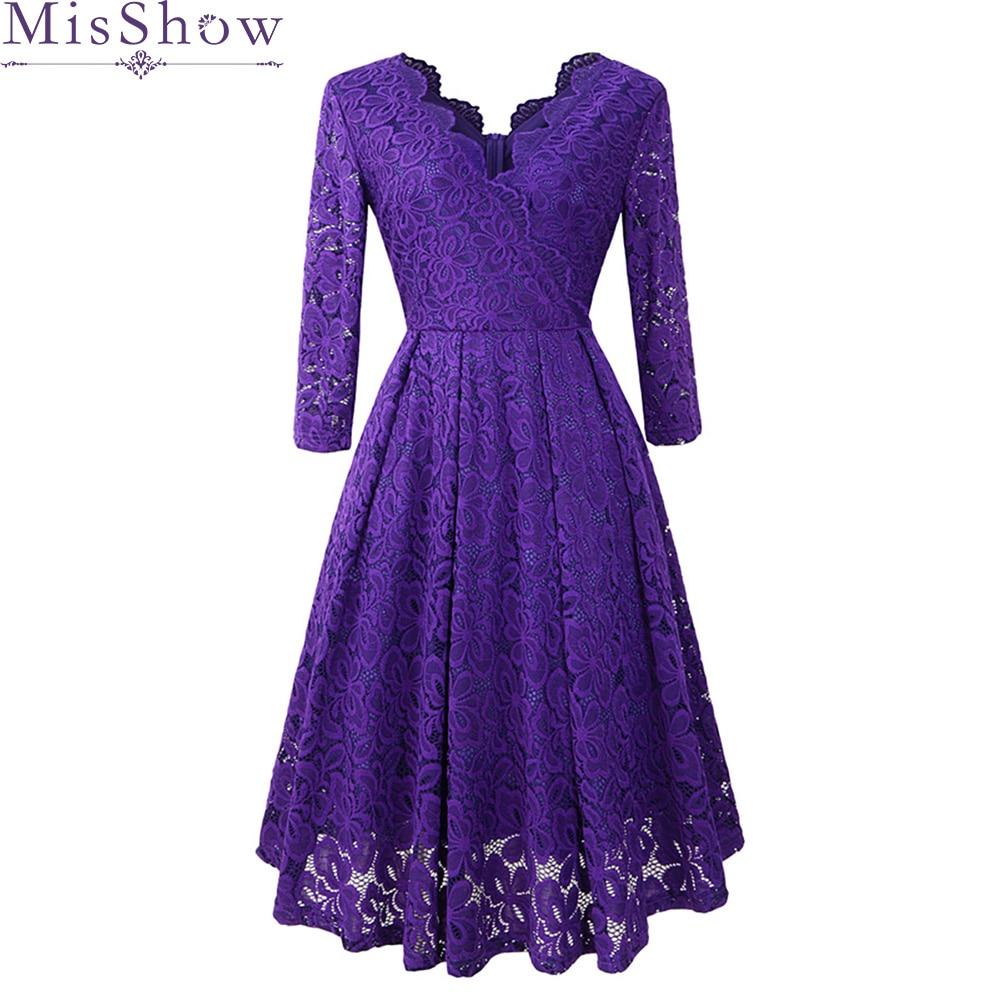 Cocktail Dresses Elegant Formal Party Dress A-Line V-Neck Lace Women 2019 Short Vestidos Sexy Purple Women Homecoming Dresses