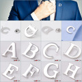 A to Z 26 Letters Design Men Lapel Pin Brooches Pins Fine Gift for Men Brooches Collar Party Engagement SAVOYSHI Brand Jewelry