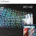 1 рулона 4 * 100 см голографическая ногтей фольги лазерные прозрачные разрушенные стекло форма ногтей передача фольги перевода наклейки бумаги C142