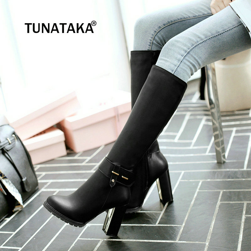 Winter Warm Square High Heel Side Zipper Knee High Boots Fashion Round Toe Shoes Woman Brown White Black winter warm square high heel side zipper knee high boots fashion round toe shoes woman brown white black