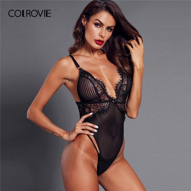 3c0bd715e COLROVIE Black Solid Eyelash Skinny Lace Teddy Bodysuit Women Clothing 2019  Spring Fashion Korean Sleeveless Sexy Bodysuits