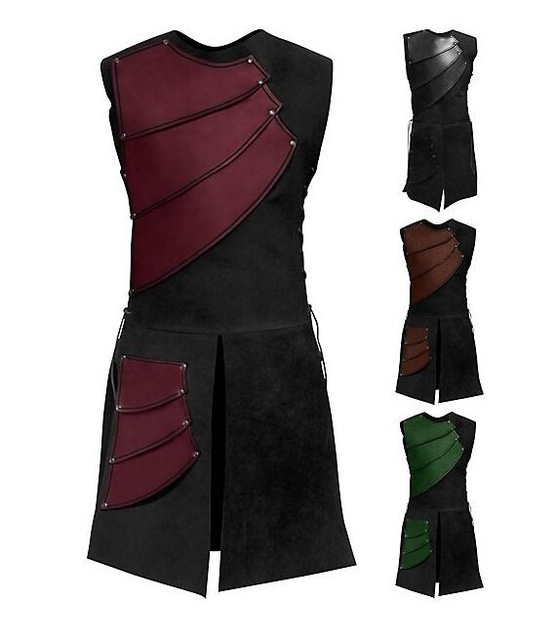 Halloween Men Costume Adult Sleeveless Spring And Autumn Collar Splicing Medieval Garments Middle Cosplay Costume