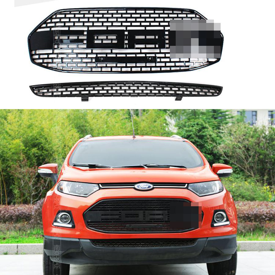 Car styling ABS F150 style Noir Calandre Proches de Trim Racing Grill Pour Ford Ecosport 2012 2013 2014 2015 2016