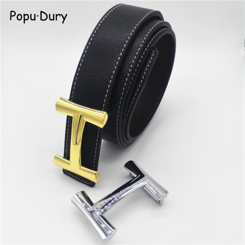 Popu`Dury 2018 New Luxury H Brand Men Designer   Belts   Women High Quality Male Casual Genuine Real Leather H Buckle Strap for Jean