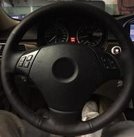 For BMW E90 E91 E92 320i 325i 330i 328i Car styling Leather Hand stitched Car Steering Wheel Covers car accessories
