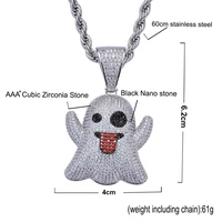 LANCHXIDY Hip Hop Men Women Necklace Pendant Emoji Elf Tongue Funny Inlay Zircon Fashion 60cm Pendant Fashion Jewelry