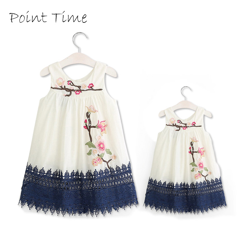 Mother Daughter Matching Dress Girls Embroidered Flower Dresses Family Clothing Mother Daughter Dress Family Matching Clothes ...