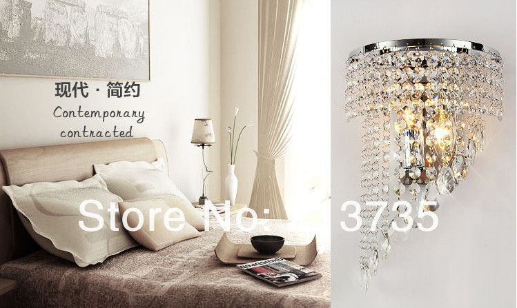 ФОТО Free shipping Hot Selling Modern K9 crystal Wall Lamp European Style,bed light