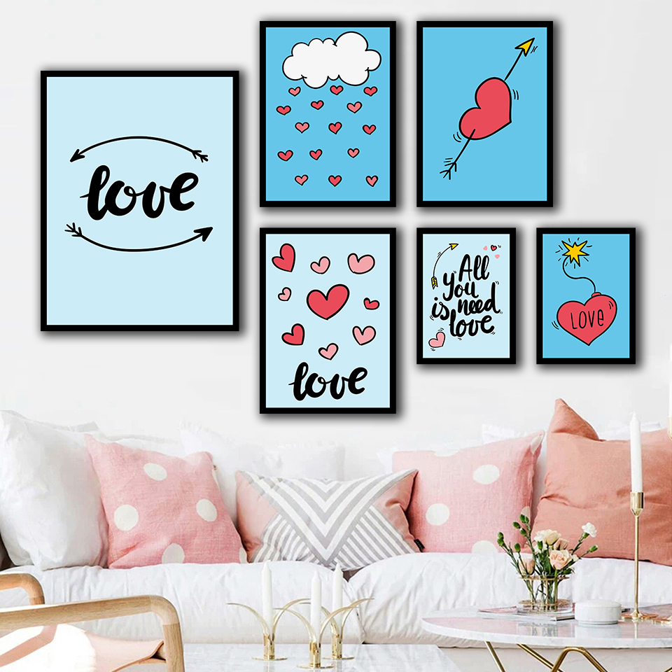 Cute Cartoon Love Red Heart Girls Room Decor Picture Abstract Quotes