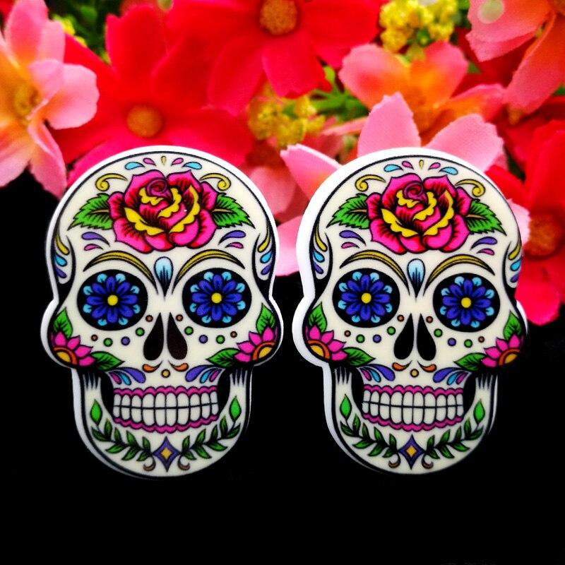 40pcs/Lot 37x27mm Skull Resin Planar Flatback Mexican Sugar Skull Flat Back DIY Hair Bows Center Phone Case Handmade Materials ...