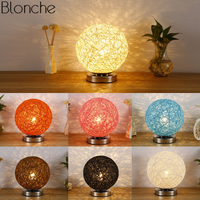 Modern Wicker Rattan Ball Table Lamps for Bedroom Bedside Colorful Led Moon Stand Desk Light Fixtures Night Lighting Luminaire