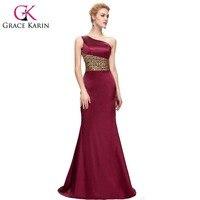 2016 Grace Karin Elegant Satin Evening Dress One Shoulder Long Blue Jujube Red Evening Gowns Leopard