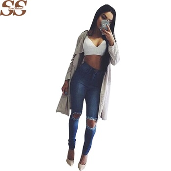 2017 New Jeans Femme Skinny Trousers High Waist  Hot Pencil Pants Full Length Hole Blue Color For Ladies