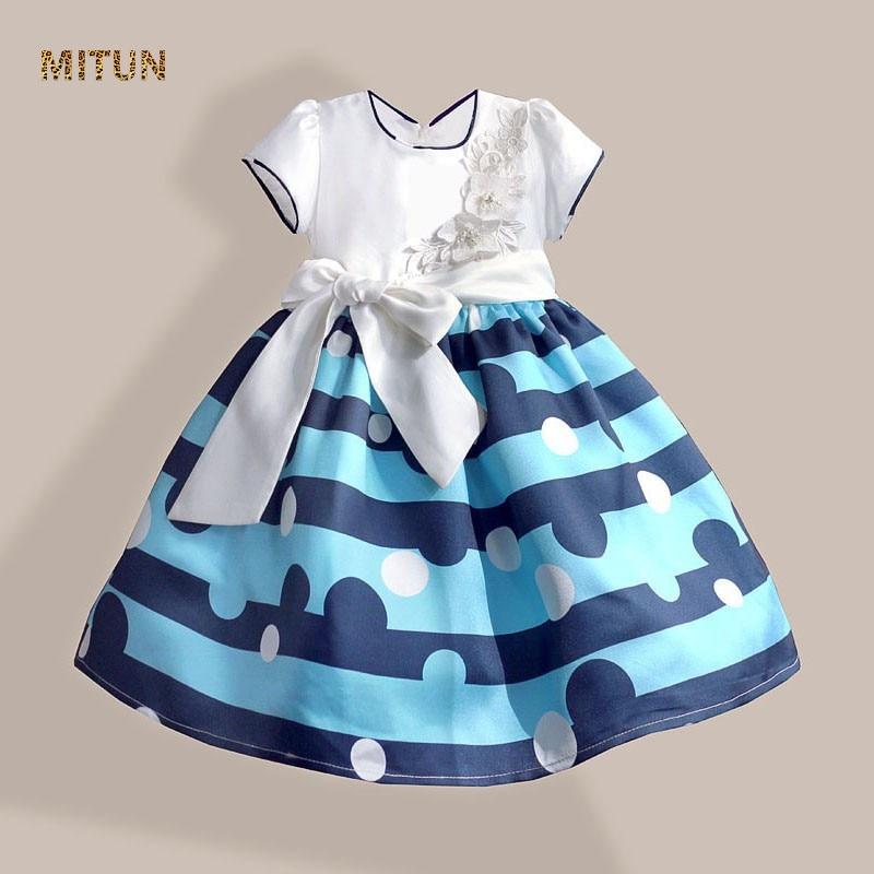 2016 new autumn Silk belt blue striped girl dress polka dot Print Wedding dress White flower girls clothes size 3-8T new fashion autumn winter girl dress polka dot