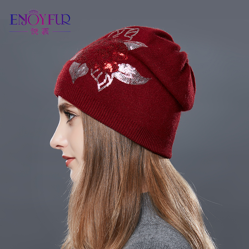 4b0ed94678a ... ENJOYFUR Sequins Embroidery Knitted Hat Female Floral Wool Winter Hats  Women s Cashmere Gravity Falls Cap Girl ...