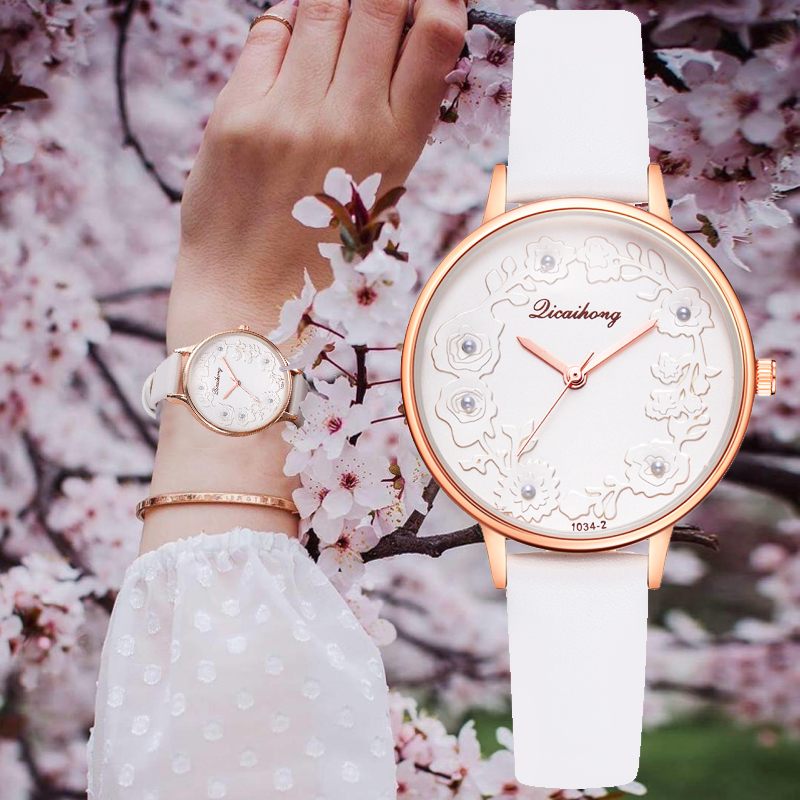 3D Embossed Flowers Watches For Women Pearls Macaron Leather Girls Creative Quar