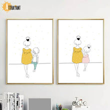 Cartoon Woman Girl Boy Minimalism Nursery Wall Art Print Canvas Painting Nordic Posters And Prints Wall Pictures Baby Kids Room(China)