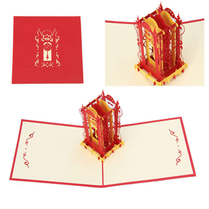 3d swing clock greeting card pop up paper cut postcard