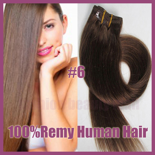 Brazilian Remy Clips In Human Real Hair Extensions Full Head 16inch