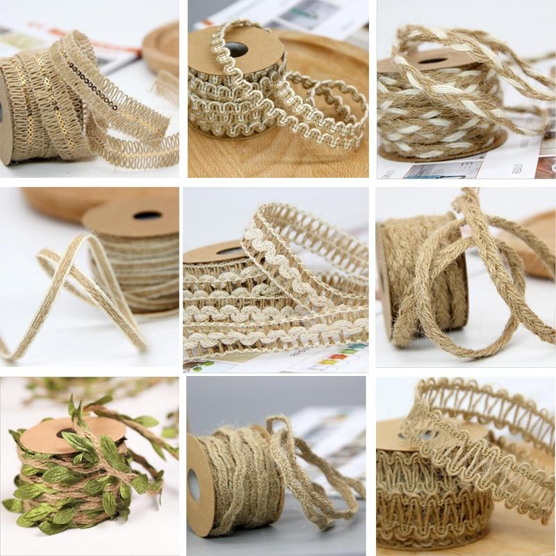 Wedding Decoration DIY Craft Vintage Natural Hessian Jute Twine Rope Burlap Ribbon Decor Home Spool Festival Scrapbooking