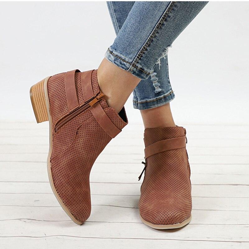 5b38a9301 Mujer Zapatos brown Tallas Grandes Tobillo Cremallera Otoño Botas Invierno  Tacón De E Medio Moda Black ...