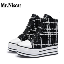 New Designer Woman High Top Platform Sneakers Flat Height Increasing Shoes for Women Black Plaid Lace Up Casual Shoes Ladies