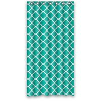36w*72h inch Dark Green Moroccan Tile Quatrefoil Pattern Design Waterproof Polyester Fabric Shower Curtain with Rings