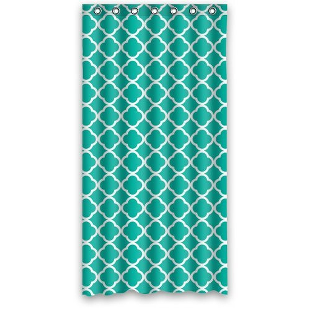 Blue Moroccan Curtains - 36w 72h inch dark green moroccan tile quatrefoil pattern design waterproof polyester fabric shower curtain with rings