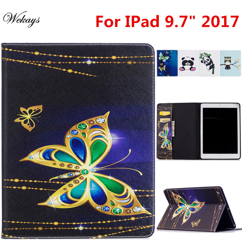 Wekays For Apple IPad 9.7 inch 2017 Cartoon Stand Leather Flip Fundas Case For Coque IPad 9.7 2017 A1822 A1823 Tablet Cover Case