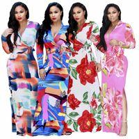 נשים מכירת שמלות סארי סארי הודי חדשה באביב ובסתיו 2018 חם סקסי דפוס דיגיטלי אופנה באירופה את פיצול שמלת