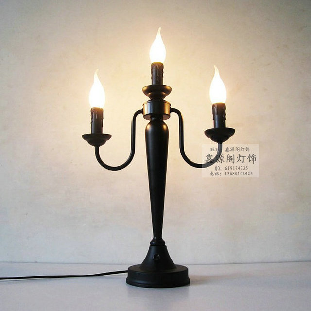 Fashion Table Lamp Brief Vintage Lighting Lamps Black Iron Candle Table Lamp  Church Three Candle Lights
